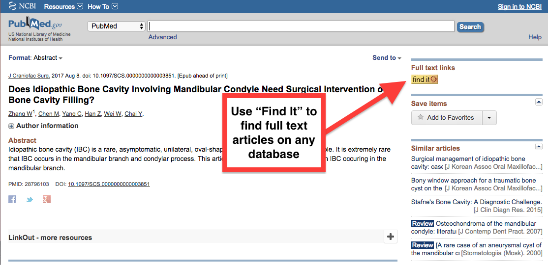 Screenshot of Find It link on the database PubMed