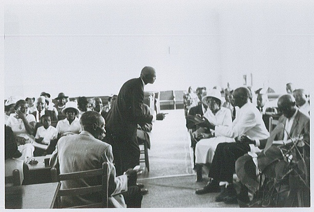 Japeth Jackson leads Sacred Harp singing, Ozark, AL, June 1968.