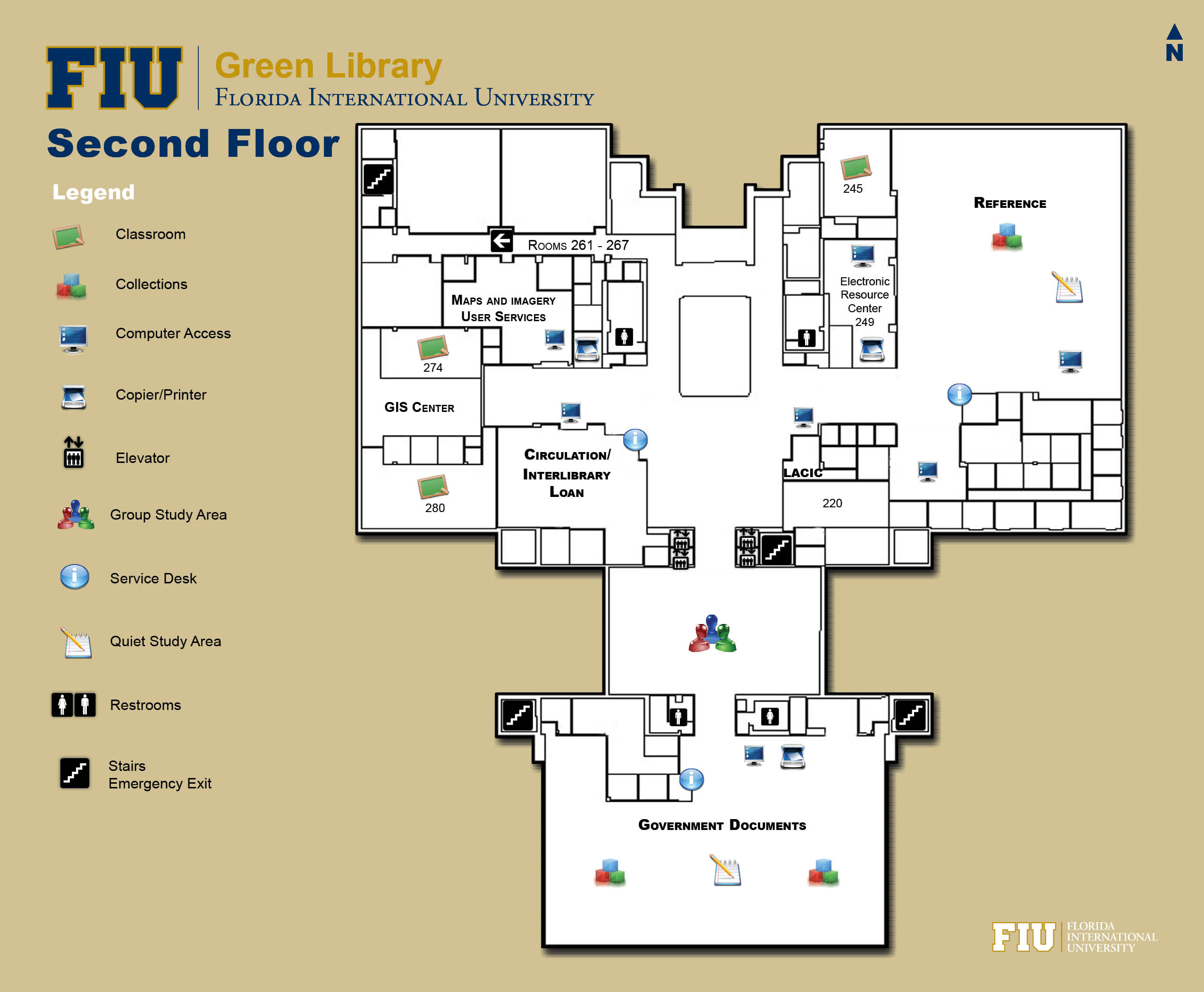 Floorplan for Floor 2 of Green Library