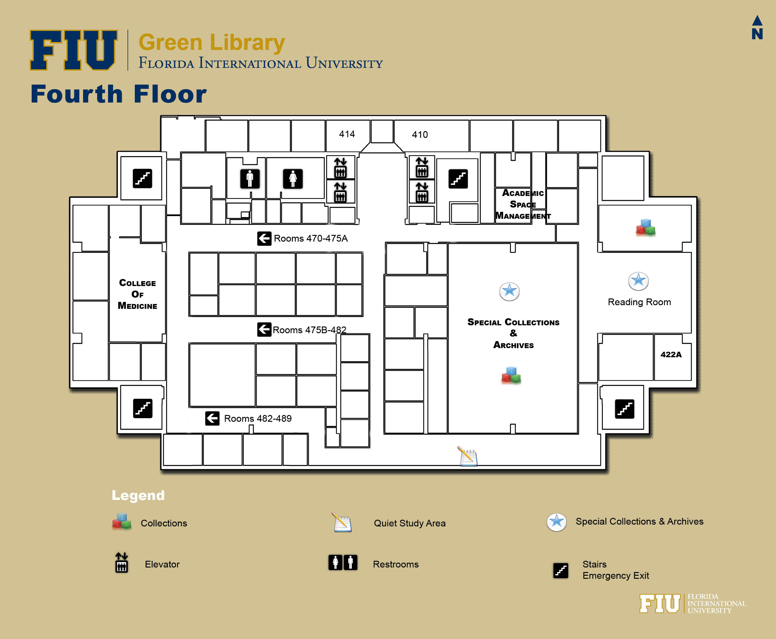 Floorplan for Floor 4 of Green Library