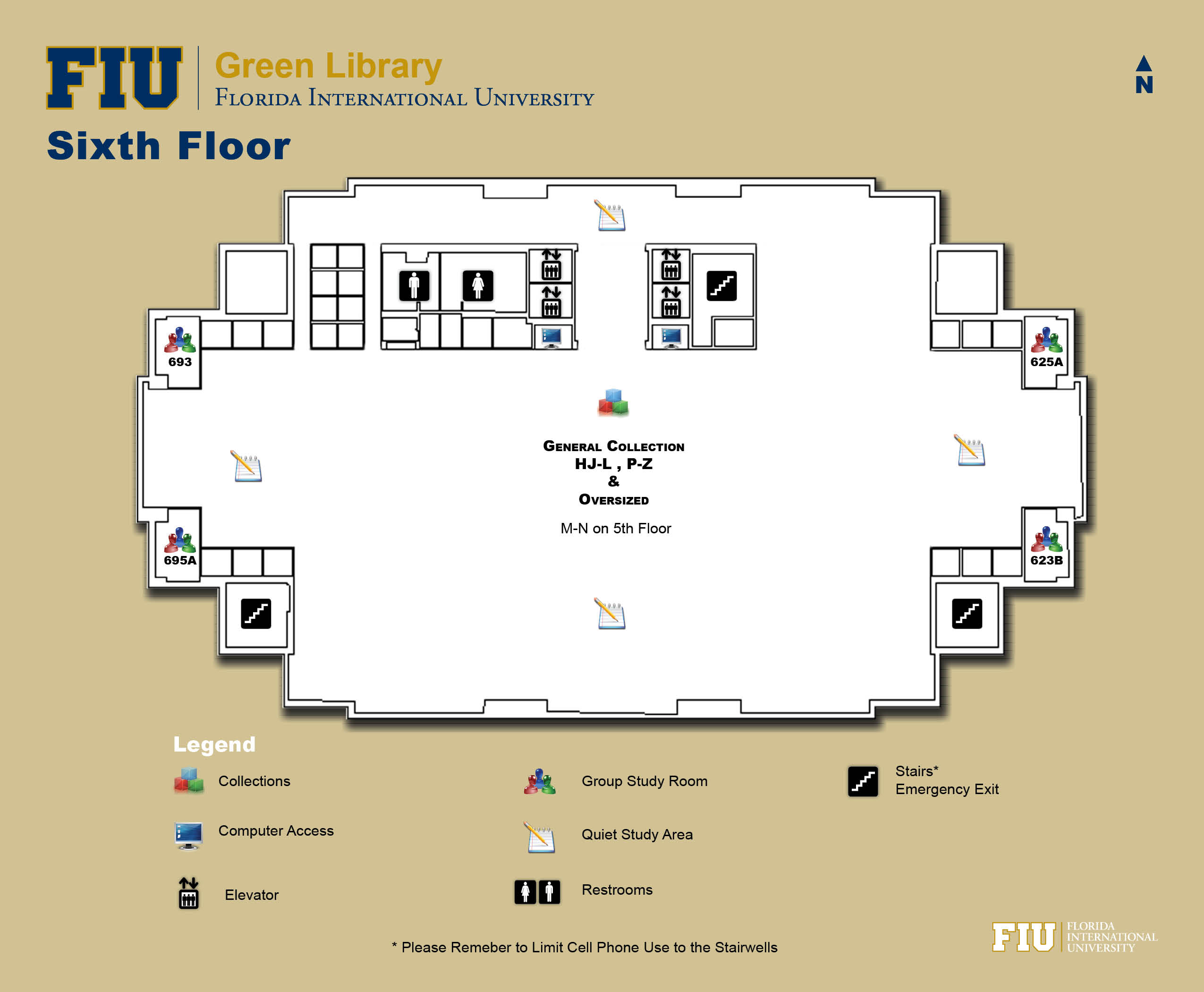 Floorplan for Floor 6 of Green Library