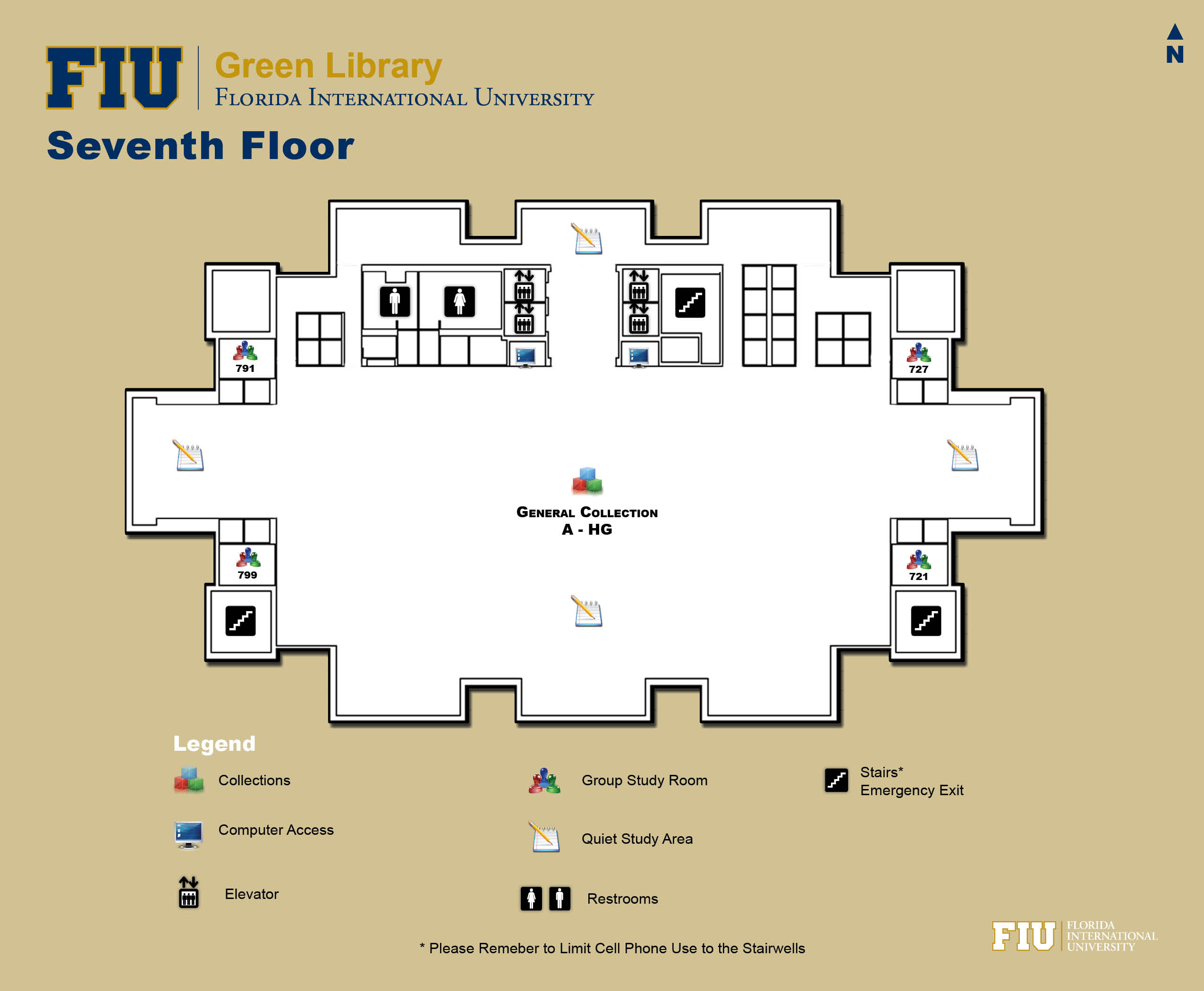Floorplan for Floor 7 of Green Library