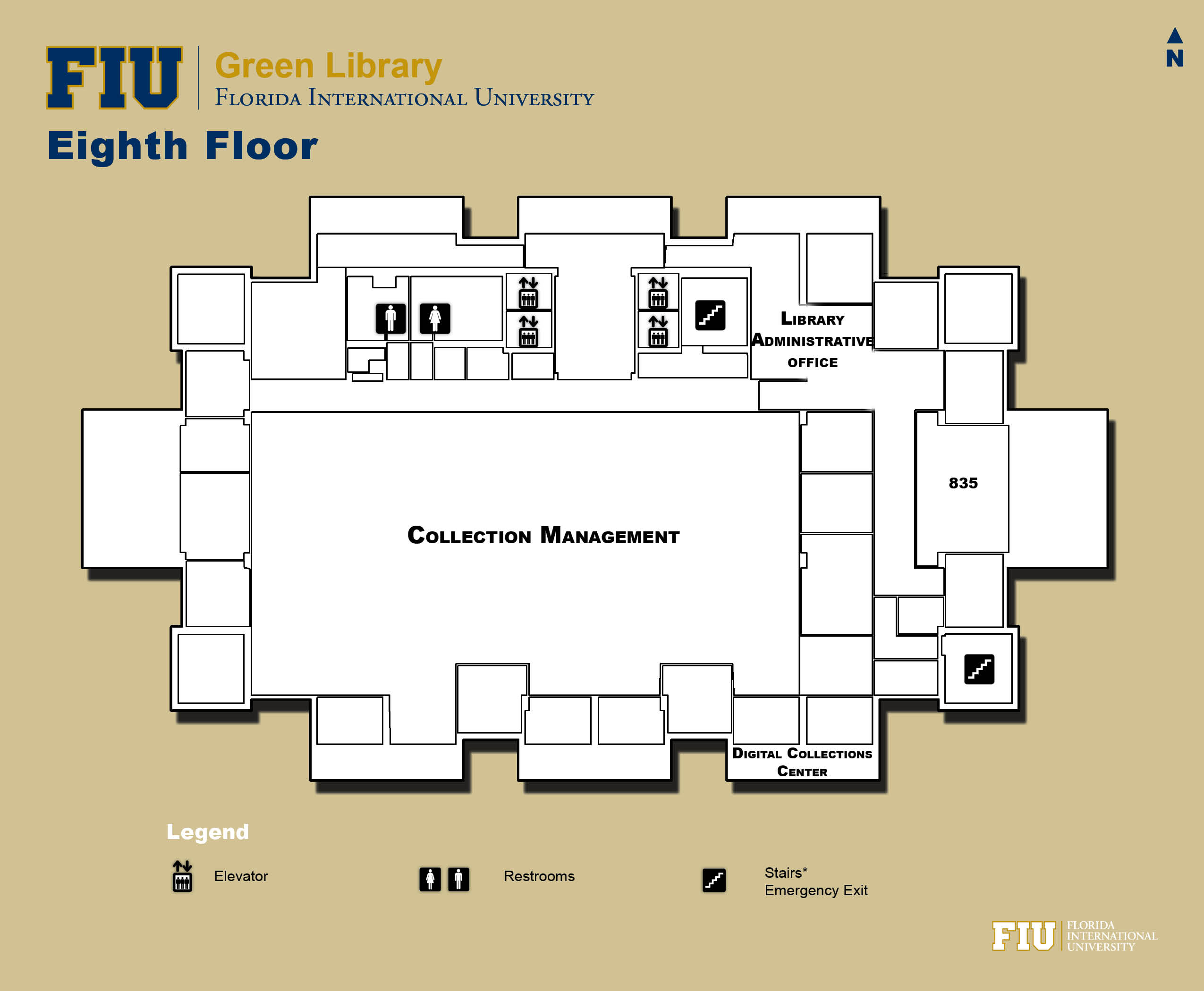 Floorplan for Floor 8 of Green Library