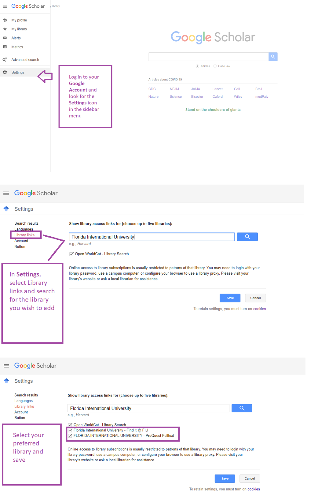 Google Scholar add a library screenshot