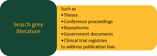 Search grey literature such as Theses, Conference proceedings, Repositories, Government documents, and Clinical trial registries To address publication bias