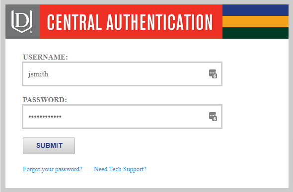 Davenport University's Central Authentication prompt, 'jsmith' is filled out as the username.