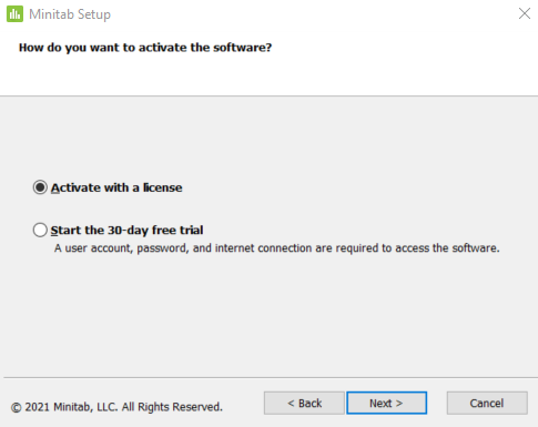 Activate the software prompt, 'Activate with a license' selected.