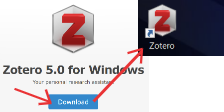Download Zotero app; see it on the desktop.