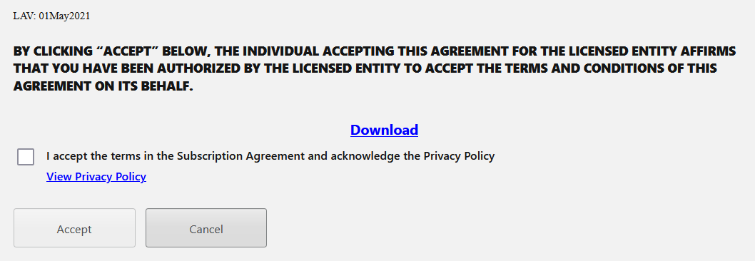 Prompt to accept Minitab's subscription agreement.