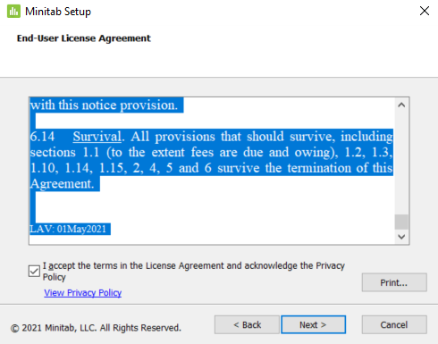 End-User License Agreement prompt, 'accept the terms' selected.