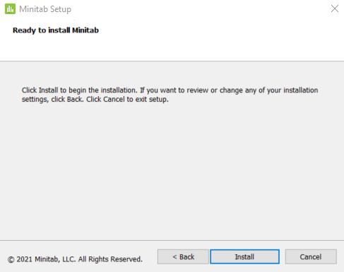 Ready to install Minitab prompt