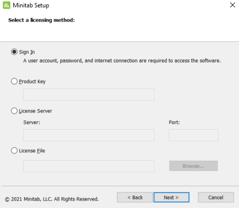 Select a licensing method prompt, 'Sign In' is selected.