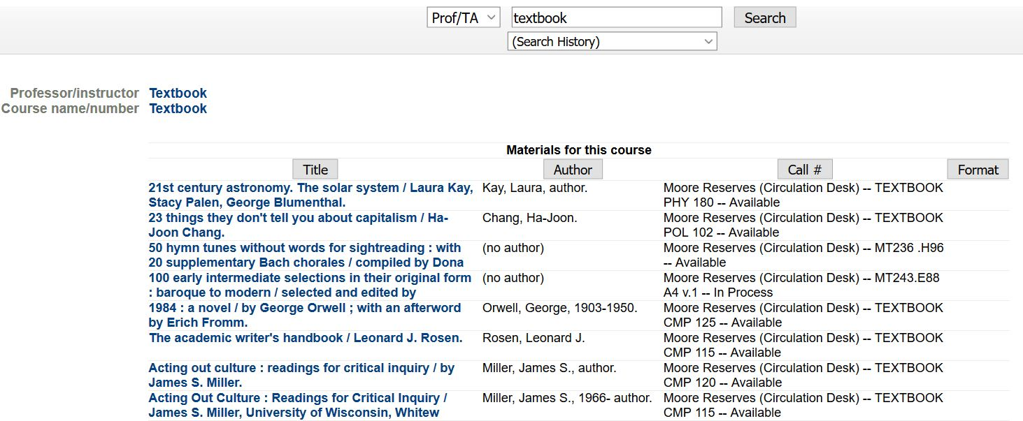 Screenshot of a list of textbooks