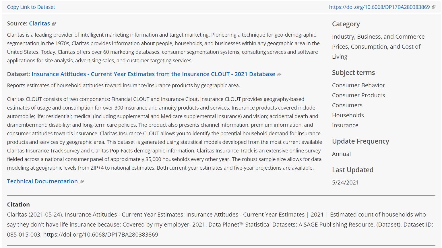 Screen grab featuring the source, dataset, and indicator descriptions and other metadata for a dataset from Claritas.