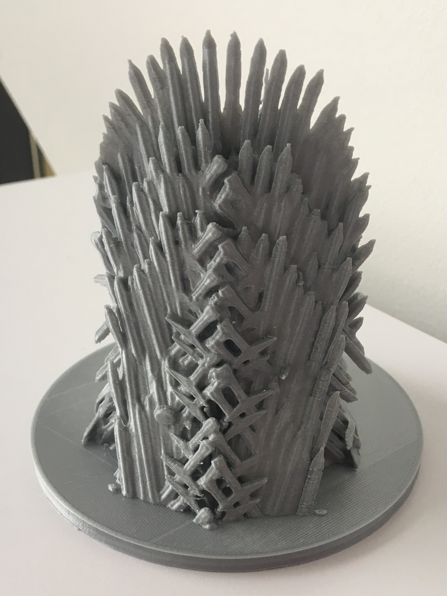 Silver 3D print of the Iron Throne (Back)