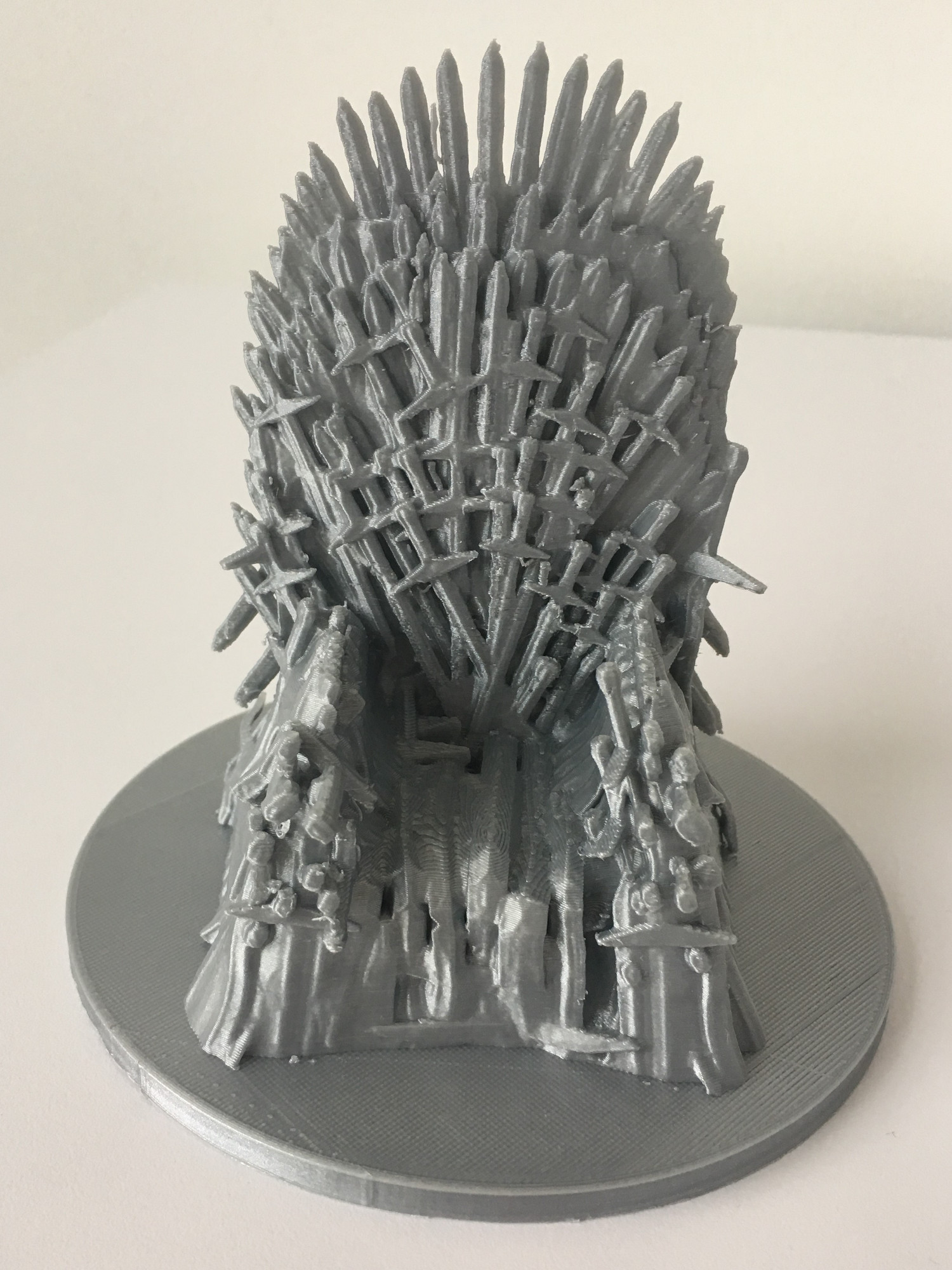 Silver 3D print of the Iron Throne from Game of Thrones