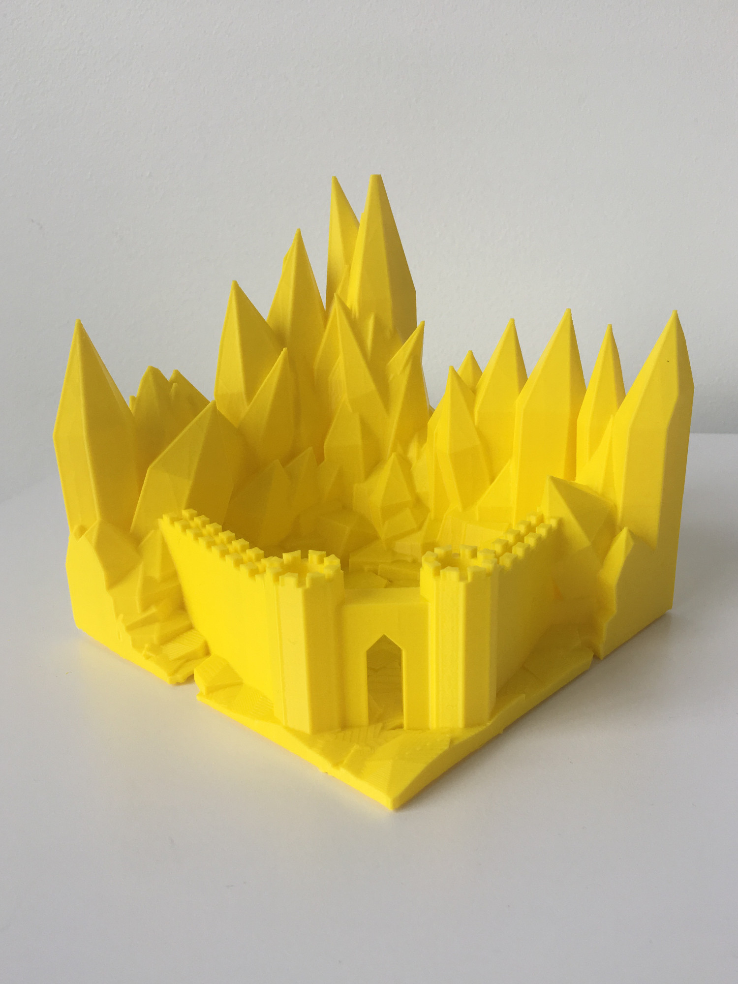 Yellow 3D printed castle