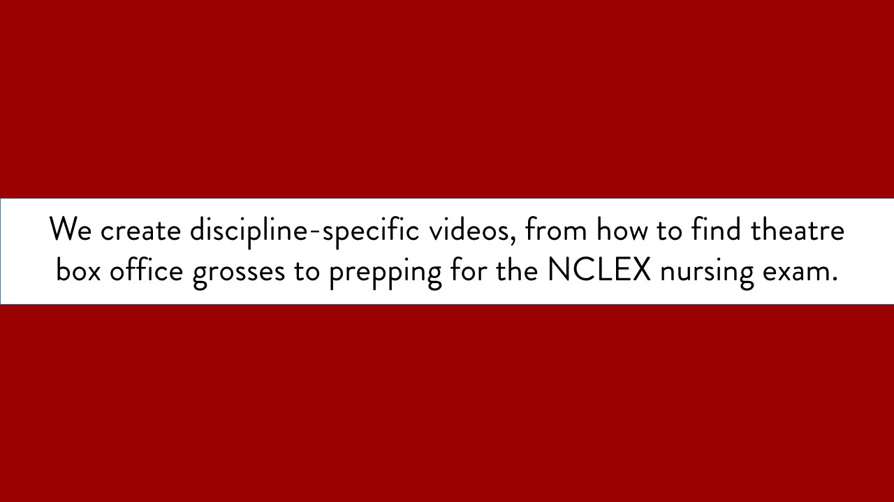 We create discipline-specific videos, from how to find theatre box office grosses to prepping for the NCLEX nursing exam. text only