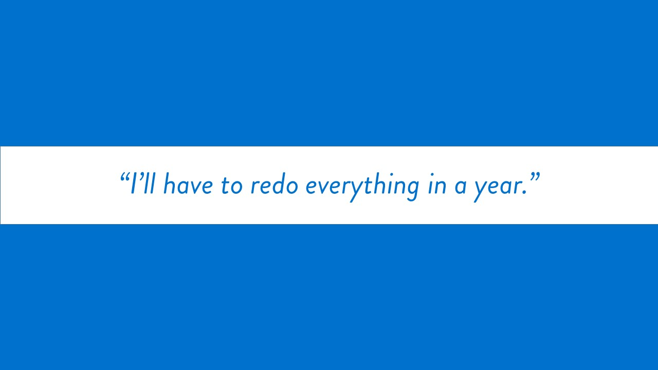 """I'll have to redo everything in a year."" text only"
