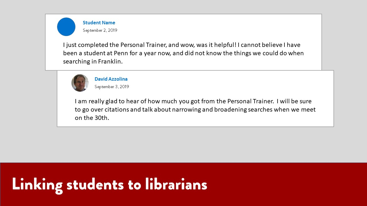 Linking students to librarians. Image of a discussion thread between a student and librarian