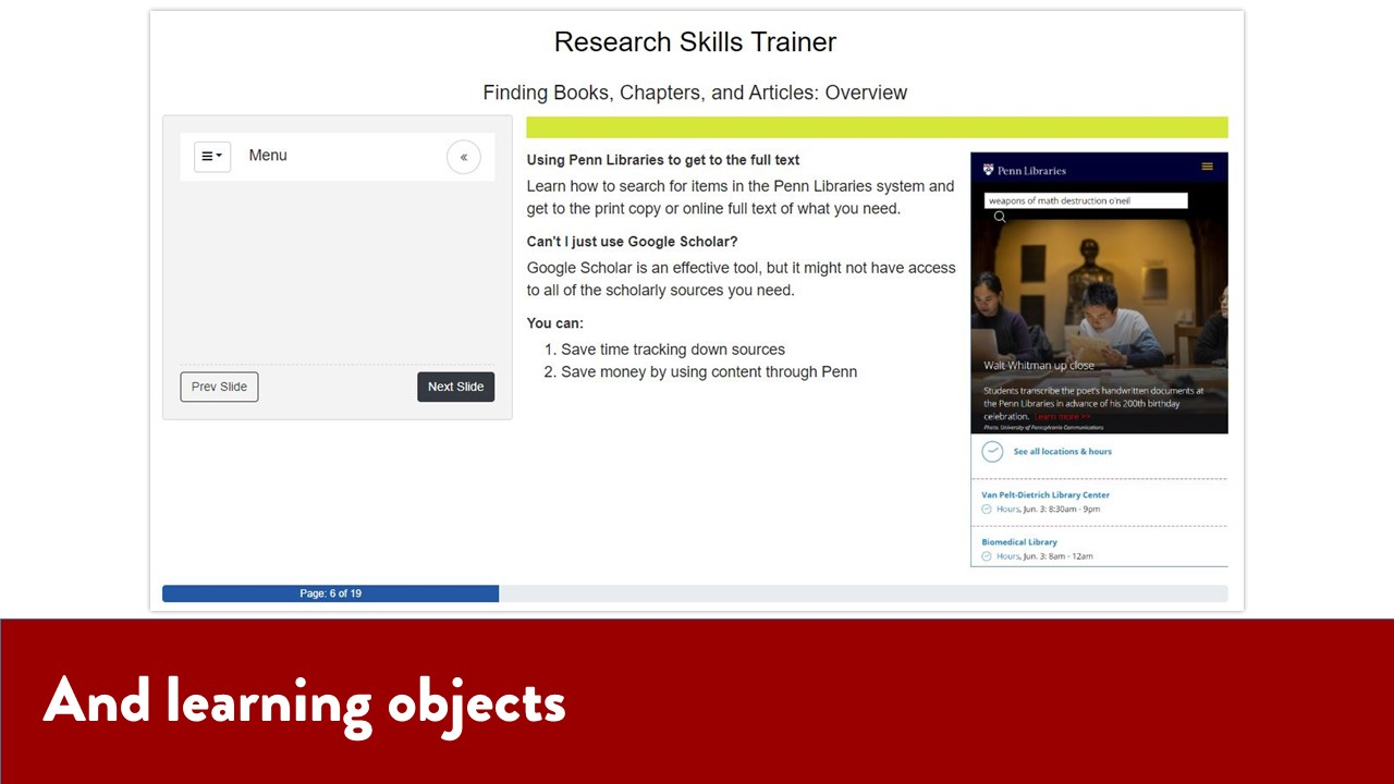 And learning objects. Image of the Research Skills Trainer