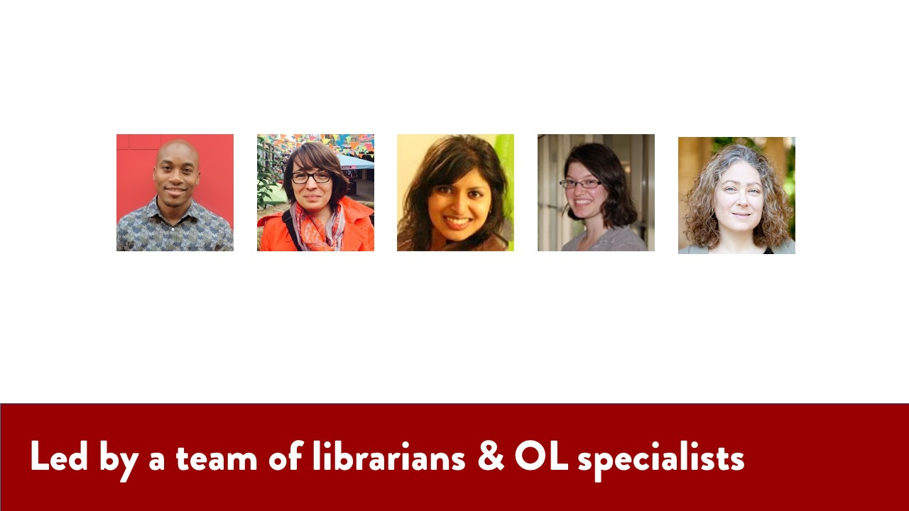 Led by a team of librarians & OL specialists. Image of the Library Lounge team headshots