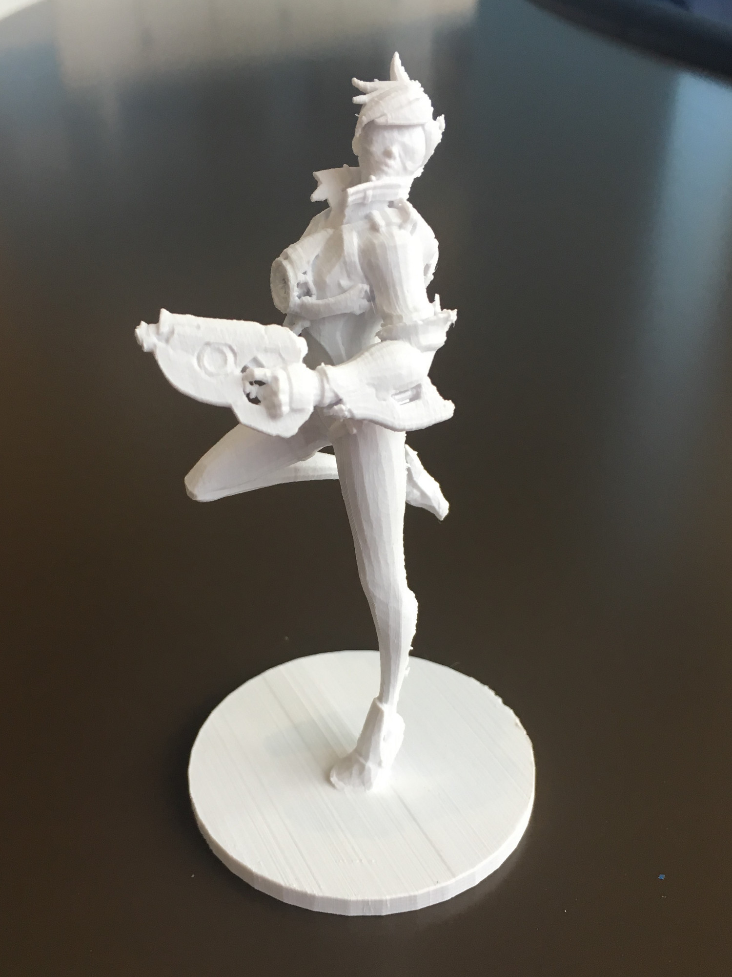 3D printed figurine of Tracer from Overwatch