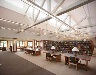Library interior showing natural light from clerestory windows