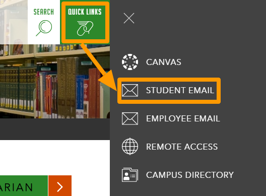 Image of - the Quick Links menu, showing the  Student Email menu options