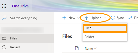 image of Upload options in OneDrive, file or folder