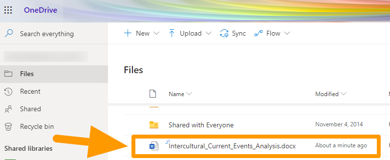 Opening a file on OneDrive