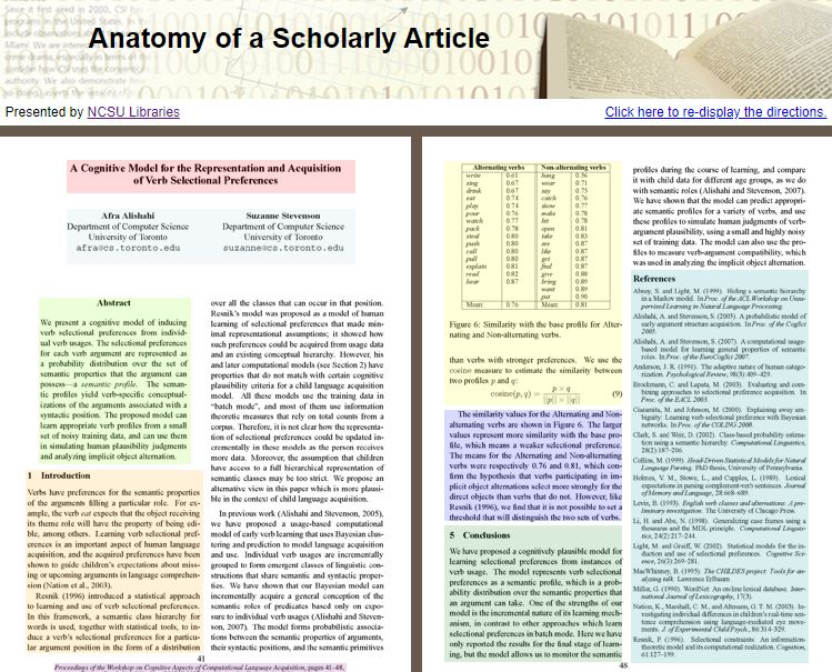 Screenshot of an interactive tutorial page, showing highlighted sections of an academic journal and notes about each section