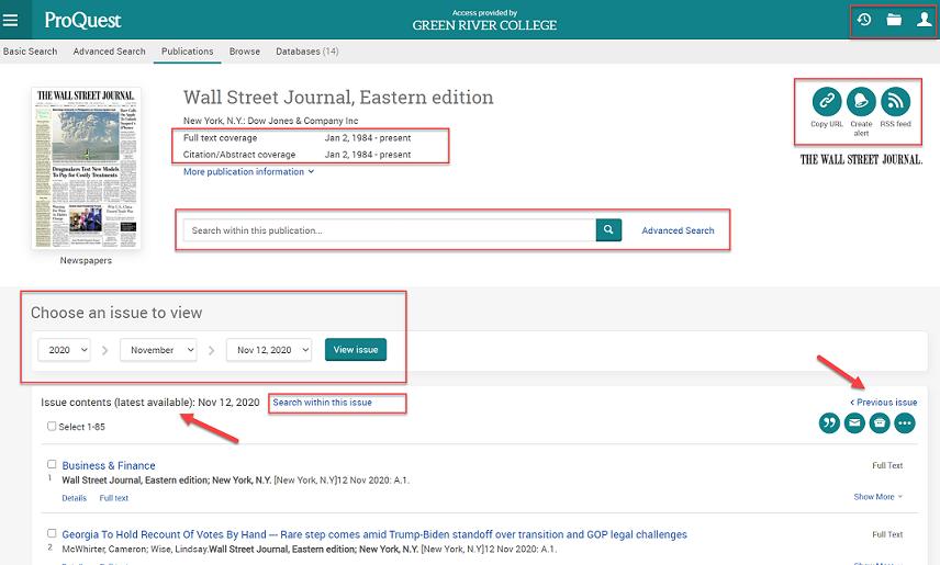 WSJ database homepage