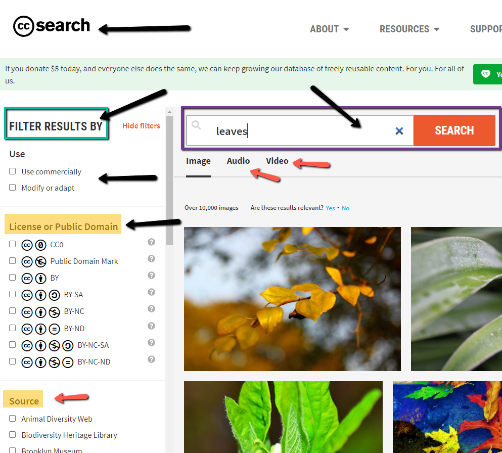 Creative Commons website search page, featuring the built in filters to the left to help choose attribution.