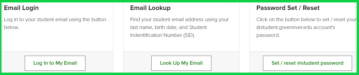 Email log in - or look up - or reset