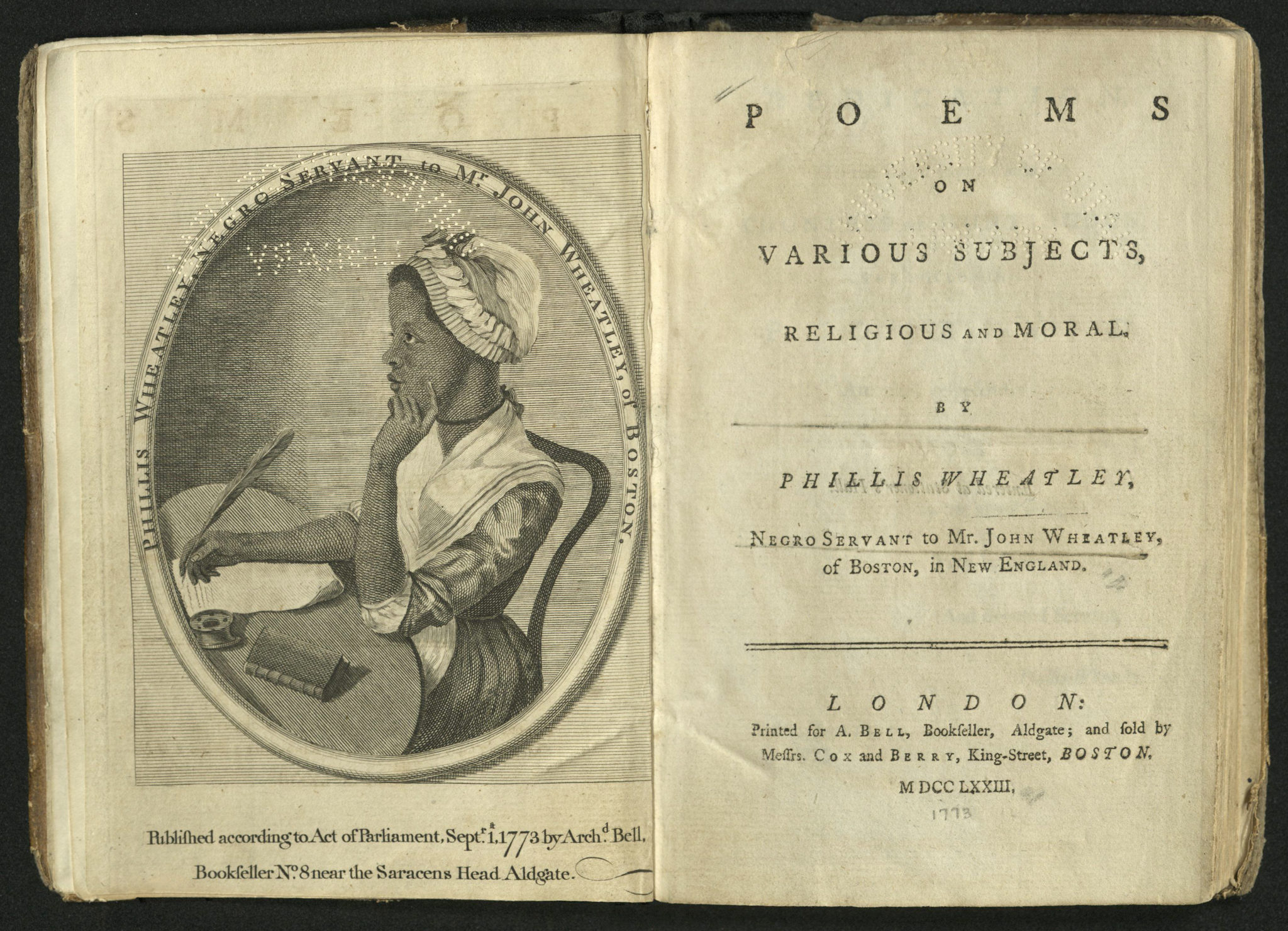 open book with frontispiece portrait of Phillis Wheatley