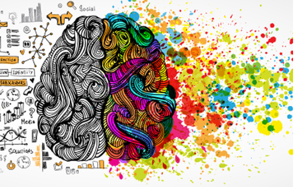 illustration of a human brain, left logical, right colorful - decorative