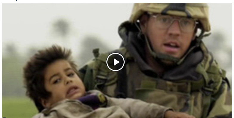 Video still of soldier and child from Iraq: War and Truth