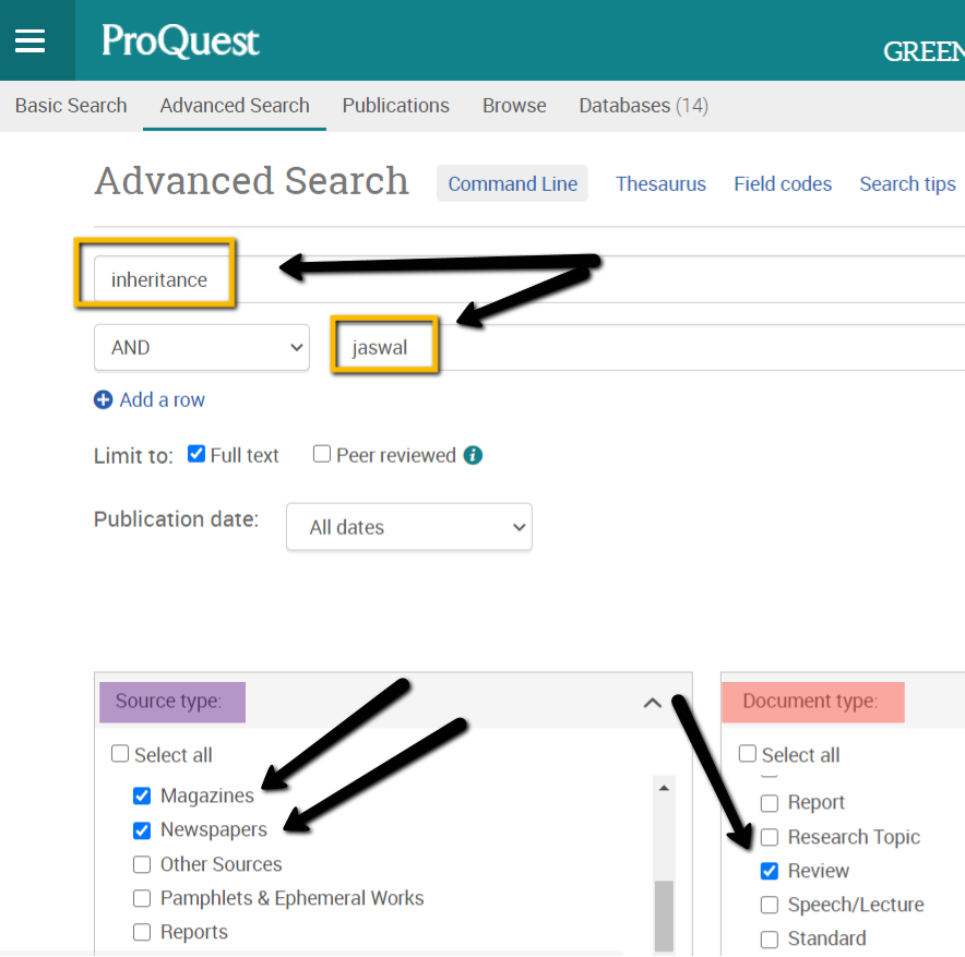Advanced Search in Proquest showing how to limit to the options outlined in the text