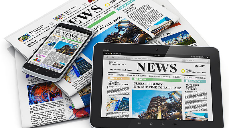 image of newspapers in print, on a phone, and on a tablet