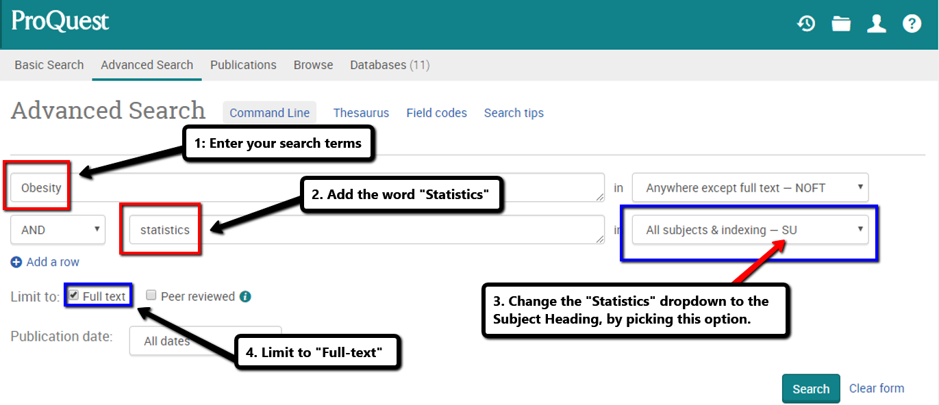 image shows a screenshot of a Proquest search page, showing how to enter your search terms as outlined in the text in this box.