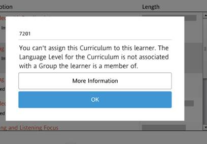 "Rosetta Stone 7201 error - ""You can't assign this Curriculum to this learner. The Language Level for the Curriculum is not associated with Group the learner is a member of."""