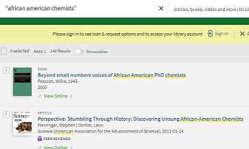 image of search results of african american chemists