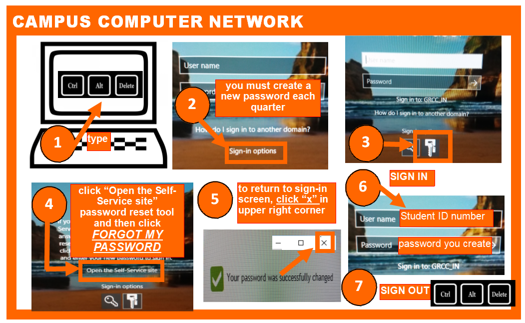 Campus Computer Network Log In Steps - as written below