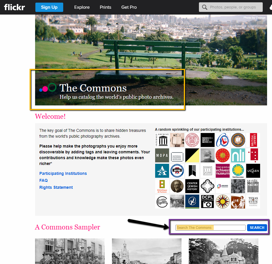 Flickr Creative Commons homepage
