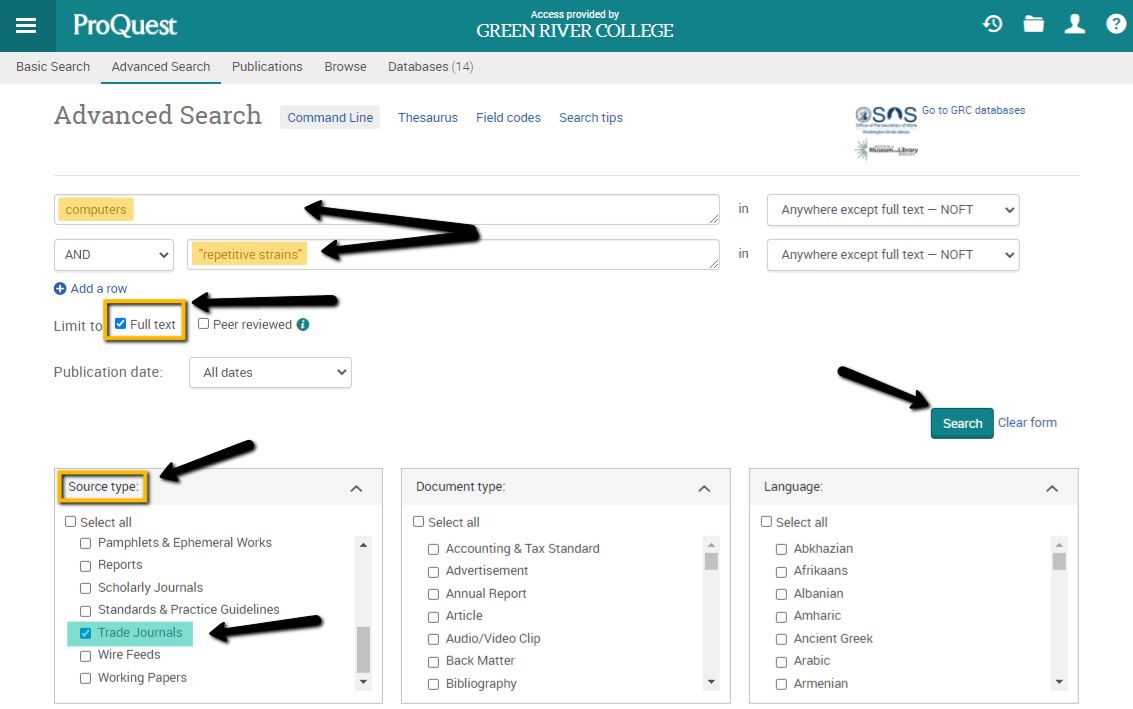 Proquest search page showing how to limit by source type, here, to Trade Journals