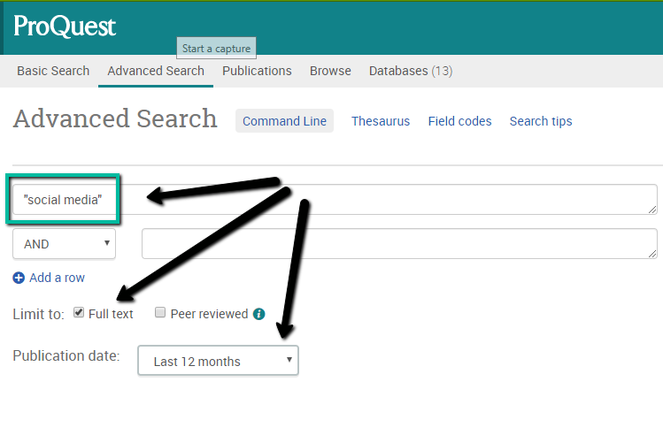 "screenshot of Proquest, showing the search boxes, highlighting the ""full-text"" box to check, and the date range option to narrow your results if needed."