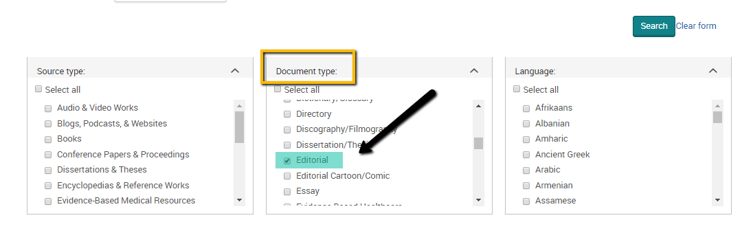 "screenshot of the ""document type"" limiting option on the advanced search page of ProQuest"