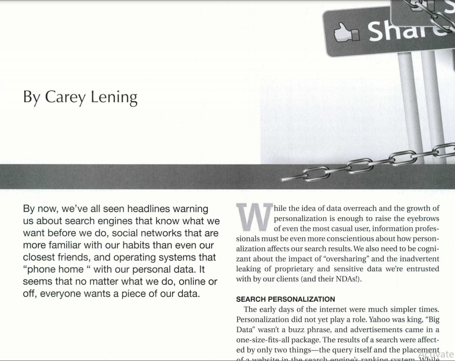 Opening to article Personalization, Privacy, and the Problem of Oversharing