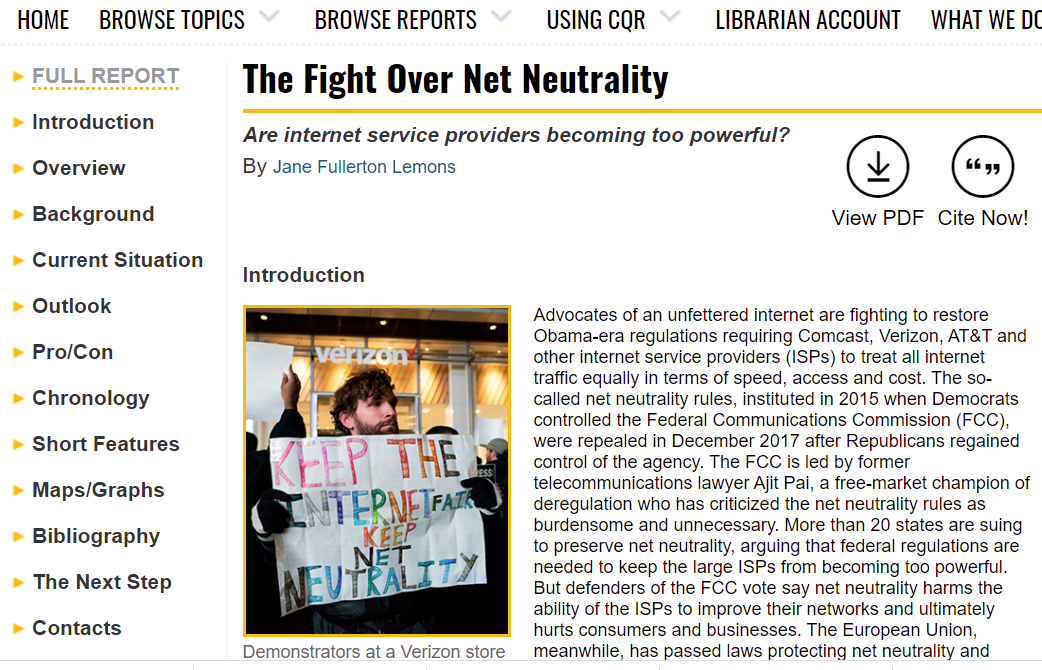 CQ Researcher article on Net Neutrality